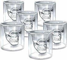 zanasta (6 Stück) Totenkopf Glas (150ml) Schädel