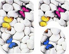 zantec 3/Set Butterfly Stone Badezimmer Rutschfeste Wasseraufnahme Weiche Matte WC-Deckelbezug Badteppich Nabi Stein dreiteilige Anzug; 45* 75cm