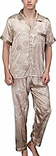 Zantec Männer Simulation Seide Pyjama Set Floral