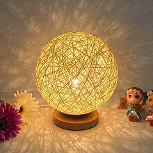 Zantec Tischlampe LED Rattan Ball dekorative Lampe