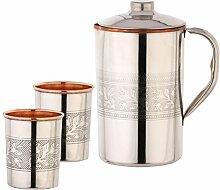 Zap Impex Indische Trink Kupfer geprägte Krug mit