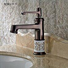 zapfhähne Kupfer Wasserhahn und Rotary Waschbecken Wasserhahn Badezimmerschrank Waschtisch Armatur Zuspitzung Einloch, Dunkelgrau B