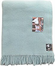 Zartblaue Wolldecke 'babyblue' aus 100%