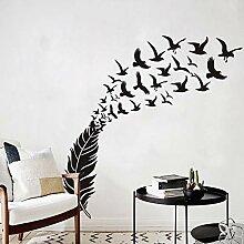 Zarte Feder Vogel dekorative Vinyl Wandaufkleber