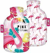 Zaska Wärmflasche mit Textildecke Modell Flamingo
