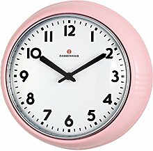 Zassenhaus Retro-Wanduhr, Ø 24 cm, rosa,