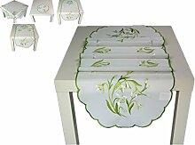 ZAUBERHAFTE Tischdecke 40x160 cm oval FRÜHLING weiß Schneeglöckchen grün gestickt Polyester Mitteldecke FRÜHLING Ostern (Tischläufer 40x160 cm)
