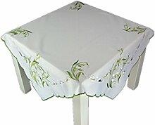 ZAUBERHAFTE Tischdecke 85x85 cm eckig FRÜHLING weiß Schneeglöckchen grün gestickt Polyester Mitteldecke FRÜHLING Ostern (Mitteldecke 85x85 cm)