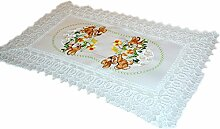 zauberhafte TISCHDECKE Tischläufer Deckchen eckig für Ostern mit BREITER SPITZE champagner OsterHASE rosa hellgrün bunt gestickt - Größenwahl im Angebot (35x50 cm)