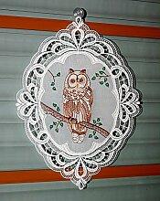 Zauberhaftes Fensterbild Plauener Spitze 29x39 cm