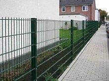 Zaun 25m Komplett-Angebot 1230mm Höhe RAL6005/grün Doppelstabmattenzaun, Gartenzaun, Metallzaun, Zäune, Tor, Gartentor,