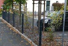 Zaun 25m Komplett-Angebot 63cm Höhe anthrazit Doppelstabmattenzaun, Gartenzaun, Metallzaun, Zäune, Tor, Gartentor,