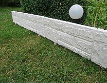 Zaun 4 tlg 2,34 m x 20 cm weiß Rasenkanten