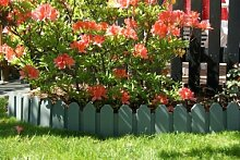 Zaun Set in grau zi 2,40 m x 18 cm Sichthöhe Rasenkanten Beeteinfassung Palisade Beetumrandung Garten Rasen Zierzaun Gartenzaun Bee