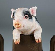 Zaunhänger Schwein rosa/schwarz, Zaundeko,