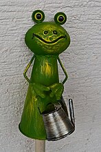 Zaunhocker Frosch mit Gießkanne-lustiger Zaungucker Gartenfrosch -Gartenzaungucker -aus Metall- für Haus und Garten,stabile Ausführung
