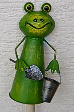 Zaunhocker Frosch mit Zink-Eimer + Schaufel-lustiger stabiler Zaungucker Gartenfrosch -Gartenzaungucker -aus Metall- für Haus und Garten,stabile Ausführung