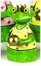Zaunhocker Froschkönig klein Gartendeko 21 cm grün Frosch Metall Figur