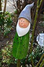 Zaunhocker Gartenzwerg- lustiger Zaungucker Zwerg -aus Polystein- für Haus und Garten, Höhe 27 cm-für Zaunpfähle, Pfosten am Gartenzaun