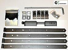 Zauntor-Beschlagsortiment mit Stützhaken, Ladenbändern & Überwurf aus Edelstahl