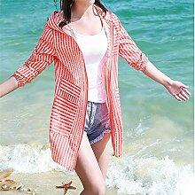 ZAYPJ XRXY Langer Abschnitt Sommer Striped Sonnenschutzkleidung/weiblicher dünner dünner kreativer Cardigan/Haut-freundlicher Breathable Anti-UVschal (4 Farben vorhanden) (Farbe : D, größe : L)