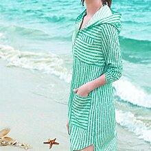 ZAYPJ XRXY Langer Abschnitt Sommer Striped Sonnenschutzkleidung/weiblicher dünner dünner kreativer Cardigan/Haut-freundlicher Breathable Anti-UVschal (4 Farben vorhanden) (Farbe : C, größe : M)