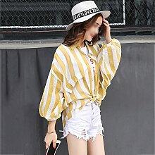 ZAYPJ XRXY Weiblicher ultradünner losen Streifen-Sonnenschutz-Kleidung/Kursteilnehmer-Sommer-einfache Sonnenschutz-Strickjacke im Freien/Haut-freundliches breathable dünnes Klimaanlage-Hemd
