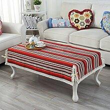 ZB einfache Mode Streifen Baumwollfaden Couchtisch Auflage Tischdecke Tischdecke runde Tischdecke Couchtisch Tisch Tisch Matte