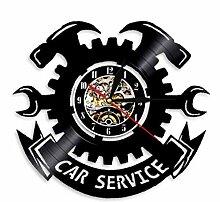 ZBBSHOP Schallplatte Wanduhr Auto Service Auto