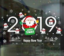ZBYLL Weihnachten Fensteraufkleber Cartoon Santa