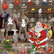 ZBYLL Weihnachten Fensteraufkleber Santa Claus