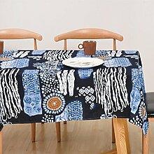 ZC&J Baumwolle und Leinen Tischdecken, europäischen Stil Retro pastoralen Stil Tischdecke Tischdecke, leicht zu reinigen staubdichte multifunktionale Tischdecke,A,140*250cm