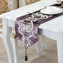 ZC&J Continental Luxus dekorative Tischläufer, Wildleder Stickerei Jacquard, staubdicht, rutschfest, Haus und Hotel Mehrzwecktischläufer,A5,33*210cm