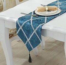 ZC&J Continental luxus tischläufer, hause wohnzimmer couchtisch, tabelle staub tischdekoration küche, flanell geprägte mode tischläufer,A1,28*210cm