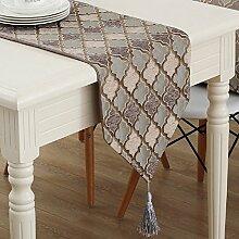 ZC&J Continental Zuhause dekorative Tischläufer, staubdicht Möblierung, Tischläufer einfach, sauber, geometrische Muster, die Hoteltabelle Kaffee,A1,32*200cm