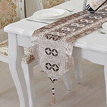 ZC&J Edle Tisch Läufer bestickt Kommode Schal für Dining, Hochzeit, Party, Geschenk, Tischläufer europäischen Retro-Stil,A2,32*210cm
