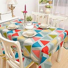 ZC&J Einfache Persönlichkeit Mode Tischdecke dekoriert Tischdecken, dreieckige Nähmuster, Innen-Couchtisch, Schreibtisch, Tisch Tischdecke,A,140*180cm