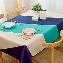 ZC&J Europäische Moderne Minimalistische Art Leinen Tischdecke, Gestreiftes Muster, Tägliches Wohnzimmer, Hotel, Party Tischdecke, Rechteck Mehrzweck Tischdecke,B,120*120cm