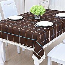 ZC&J Europäische moderne Tischdecke aus Holz, Staub, Schmutz, Baumwolle und Leinenmaterial, geometrische Muster und Blumenmuster, hochwertige Tischdecke,B4,130*190cm