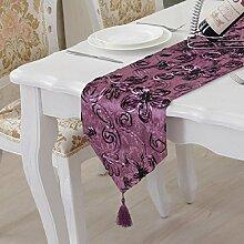 ZC&J Europäischen Stil Luxus Tuch Tischläufer, home Couchtisch, Tischfahne Dekoration, hochwertige staubdicht grün Tischläufer,A4,28*210cm