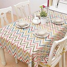 ZC&J Feine gestreifte Farbmuster Tischdecke, Baumwolltuch bedruckte Tischdecke, Couchtisch im Innenraum, Schreibtisch, Tischstaub Tischdecke,A,90*140cm