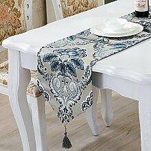 ZC&J Floral Damast Tischläufer und Kommode Schals mit Multi-Quasten, Stickerei, europäischen Retro-Stil Desktop Tischläufer,A1,33*180cm