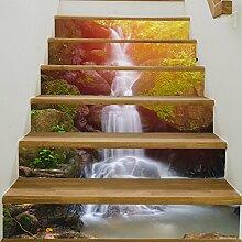 ZC&J Kreative einfache stil 3D druck wasserfall landschaft treppen aufkleber, DIY renovierung treppen selbstklebende wasserdichte aufkleber,6pcs,100*18cm