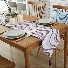 ZC&J Kreative Welle Textur Tischläufer, staubdicht, rutschfeste, umweltfreundliche Polyestermaterial, Haus und Hotel Tischdekoration Couchtisch,A2,32*160cm