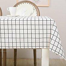 ZC&J Moderne minimalistische Baumwollgitter Muster Tischdecke Tischdecke, geeignet für Indoor-Esstisch, Couchtisch Multifunktions-Cover Tuch, praktische Verschleiß-resistenten Staub Tuch,A,100*140cm