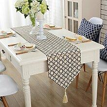 ZC&J Moderne und minimalistische Stil der geometrischen Muster Tischläufer, Haus- und Hotelbesuche Couchtisch Tisch Dekoration Tischläufer, Baumwollstoff,A1,32*200cm