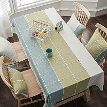ZC&J Nordischen Stil einfach nähen karierten Tischdecken, Baumwollmaterial nicht leisten können, den Ball nicht verblassen Tischdecke, home Desktop-dekorative Staubtuch,A1,100*160cm
