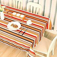 ZC&J Outdoor-Picknick-Matratze rechteckige Tischdecke Tischdecke, europäische Streifenmuster Stil, für Couchtisch Esstisch Tisch Tischdecke Multifunktions-Deckel Tuch,B,100*140CM