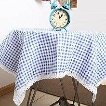 ZC&J Pastorale Tischdecken, Gitter geometrische Muster, Leinen Tuch Tischdecke Tisch, rechteckige Mehrzweck staubdichte Tischdecke Deckel Tuch,A,95*140cm