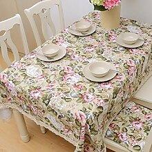 ZC&J Pfingstrose Blumenmuster, europäischen Stil Garten Tischdecke, Leinen Stoff Spitze Spitze hochwertigen Tischdecke, multifunktionale Staub Abdeckung Tuch,A,140*220cm